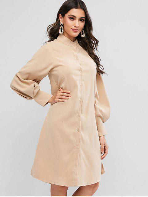 shops Lantern Sleeve Slit Button Up Shift Shirt Dress - LIGHT KHAKI L Mobile