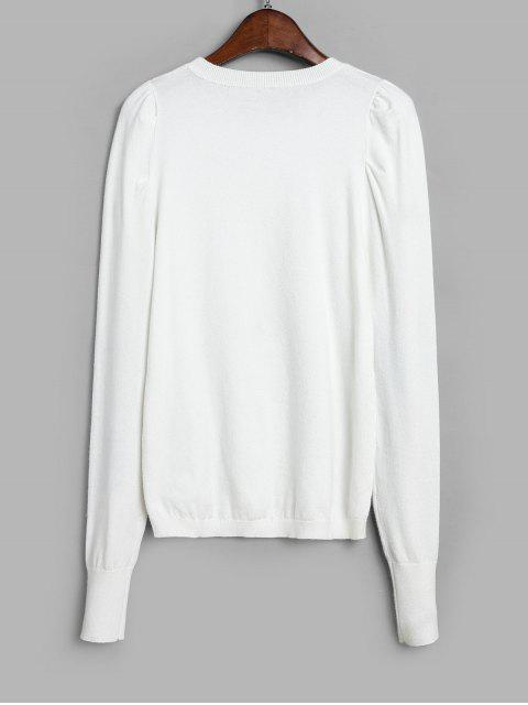 online Puff Sleeve Crew Neck Sweater - WHITE S Mobile