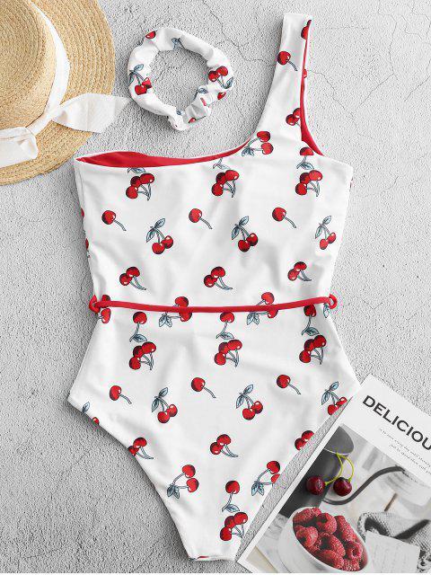 Traje de baño de una pieza con cinturón de un hombro con estampado de cerezas ZAFUL - Multicolor-A L Mobile