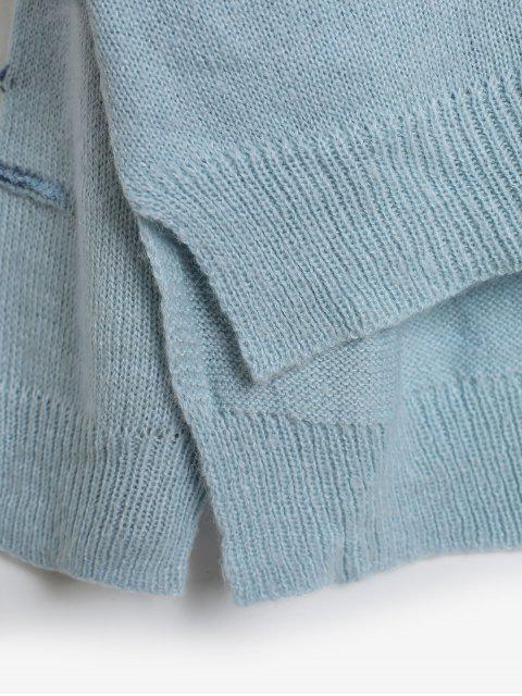 unique ZAFUL Embellished Side Slit High Low Sweater - BLUE KOI M Mobile