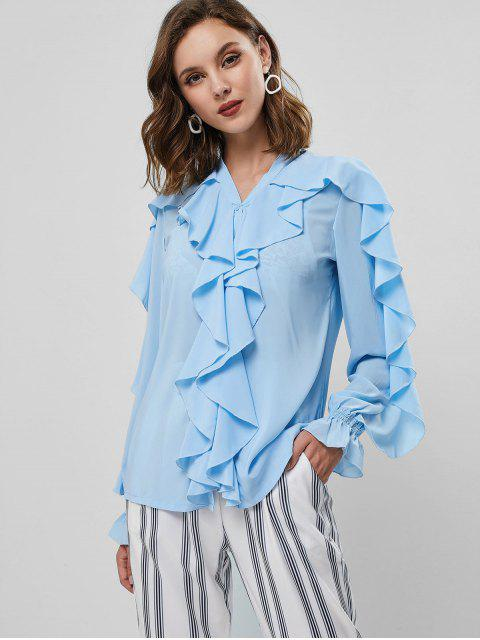 best Poet Sleeve Button Up Ruffles Top - BLUE S Mobile