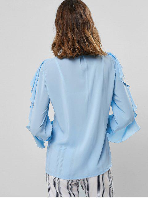 fancy Poet Sleeve Button Up Ruffles Top - BLUE L Mobile