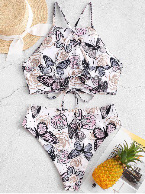 ZAFUL Maillot de Bain Tankini Fleur et Papillon Imprimés à Coupe Haute - Blanc XL Mobile