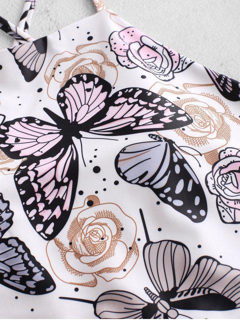 ZAFUL Maillot de Bain Tankini Fleur et Papillon Imprimés à Coupe Haute - Blanc M Mobile