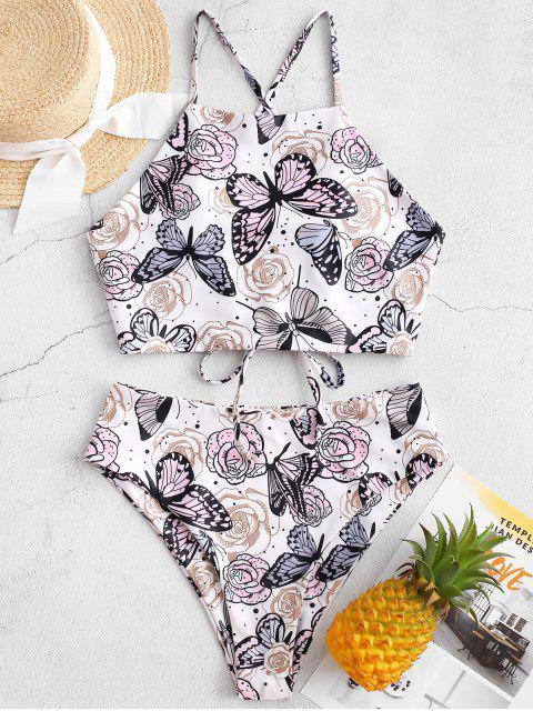 ZAFUL Maillot de Bain Tankini Fleur et Papillon Imprimés à Coupe Haute - Blanc 2XL Mobile