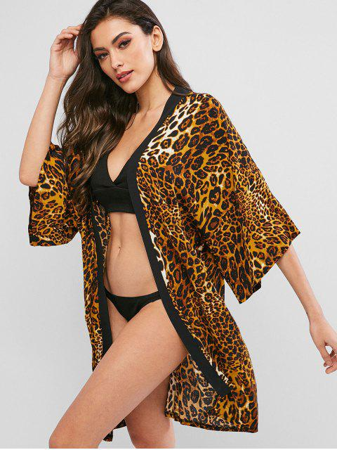 fashion ZAFUL Leopard Drop Shoulder Kimono Cover Up - LEOPARD S Mobile
