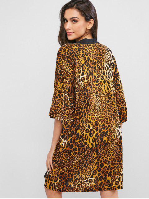 affordable ZAFUL Leopard Drop Shoulder Kimono Cover Up - LEOPARD XL Mobile
