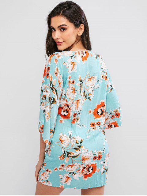 womens ZAFUL Flower Belted Drop Shoulder Beach Cover Up - MULTI-A L Mobile