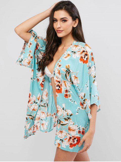 hot ZAFUL Flower Belted Drop Shoulder Beach Cover Up - MULTI-A XL Mobile