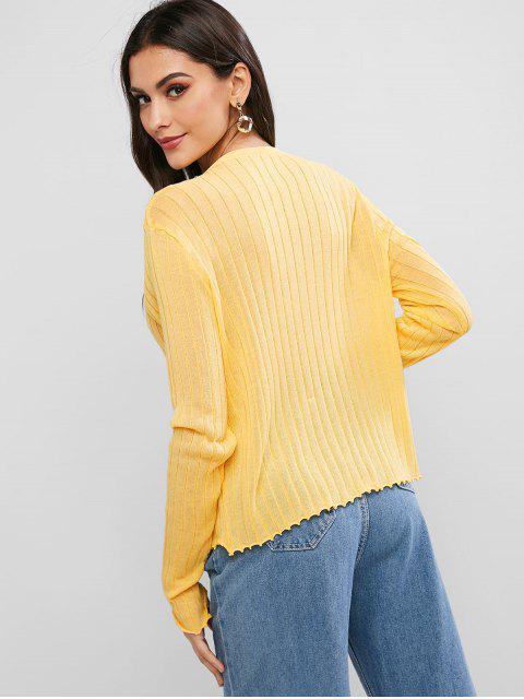 Stehkragen Knopf Vorder Gekerbte Saum Pullover - Gelb Eine Größe Mobile