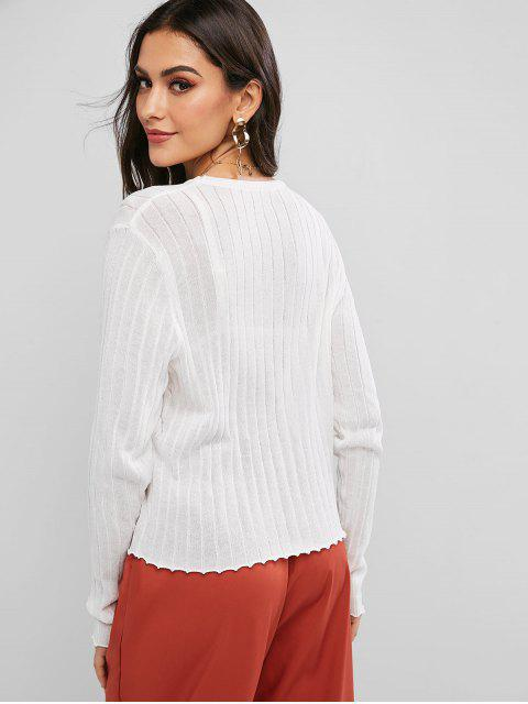 shops Mock Buttons Front Notched Hem Crew Neck Sweater - WHITE ONE SIZE Mobile