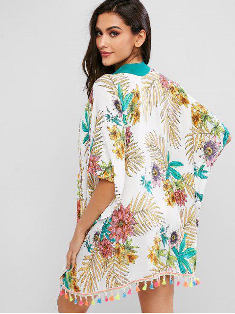 fashion ZAFUL Flower Tassel Batwing Sleeve Kimono Cover Up - MULTI-A M Mobile