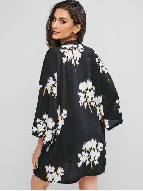 affordable ZAFUL Flower Drop Shoulder Longline Kimono Cover Up - BLACK M Mobile