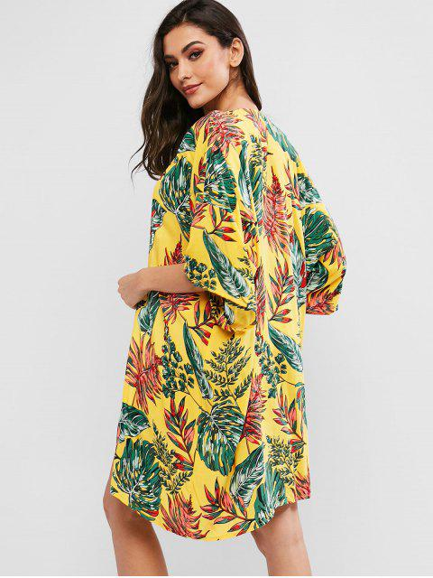 fancy ZAFUL Tropical Leaf Drop Shoulder Longline Kimono Cover Up - MULTI-A S Mobile