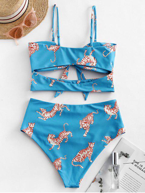ZAFUL la impresión del tigre recorte acanalada Bandeau del traje de baño de Tankini - Hiedra Azul L Mobile