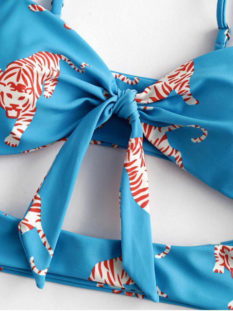 ZAFUL la impresión del tigre recorte acanalada Bandeau del traje de baño de Tankini - Hiedra Azul S Mobile