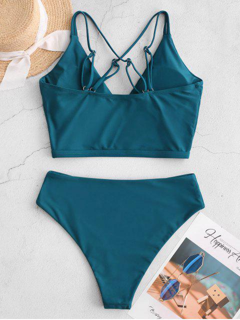 ZAFUL Sobrepelliz Criss Cross High Cut Tankini del traje de baño - Azul Verdoso L Mobile