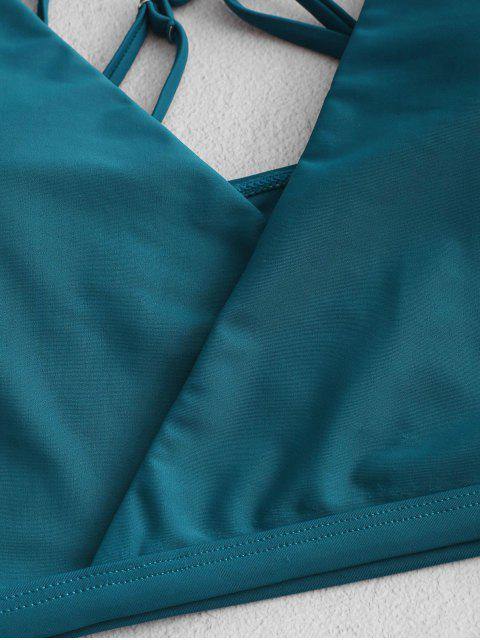 ZAFUL Maillot de Bain Tankini Superposé Croisé à Coupe Haute - Bleu Verdâtre L Mobile