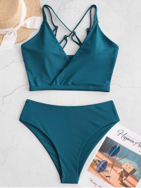 ZAFUL Sobrepelliz Criss Cross High Cut Tankini del traje de baño - Azul Verdoso XL Mobile