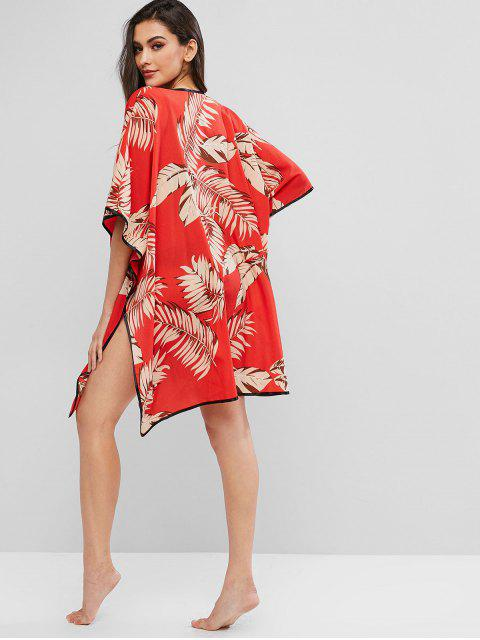 buy ZAFUL Leaf Batwing Sleeve Kimono Cover Up - VALENTINE RED M Mobile