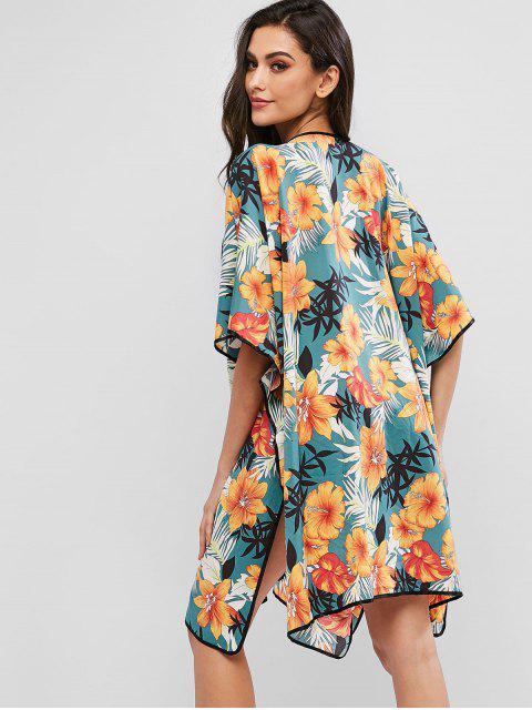 ZAFUL Тропический цветочный принт Рукав летучей мыши Кимоно Накидка - Многоцветный-A XL Mobile