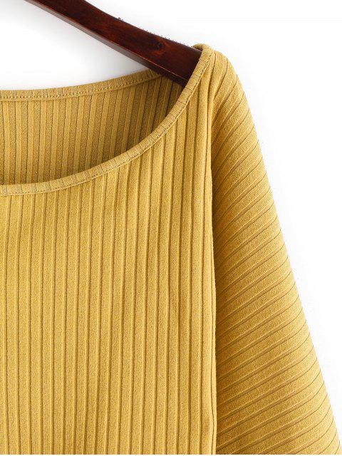 online Lantern Sleeve Ribbed Cropped Top - BEE YELLOW S Mobile