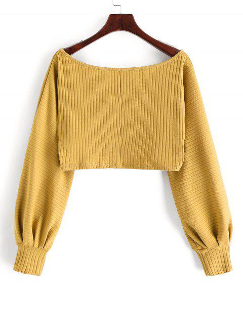 hot Lantern Sleeve Ribbed Cropped Top - BEE YELLOW L Mobile