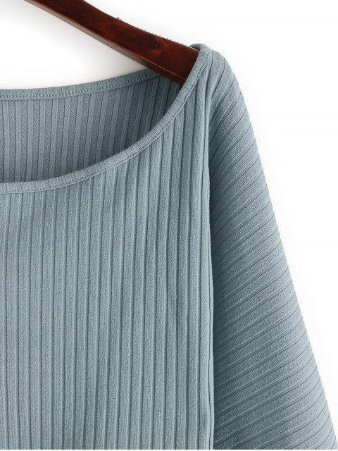 Lantern Sleeve羅紋短款上衣 - 藍灰色 S Mobile