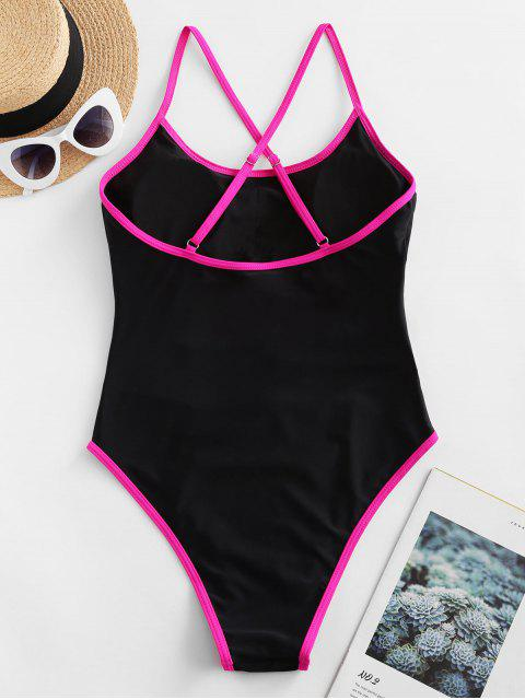 chic ZAFUL Piping Cutout Cross High Cut One-piece Swimsuit - BLACK XL Mobile