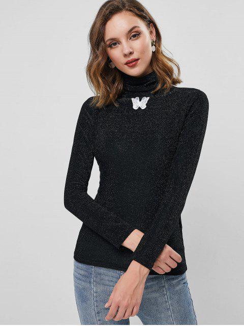 T-shirt Applique Papillon Métallique à Manches Longues - Noir S Mobile
