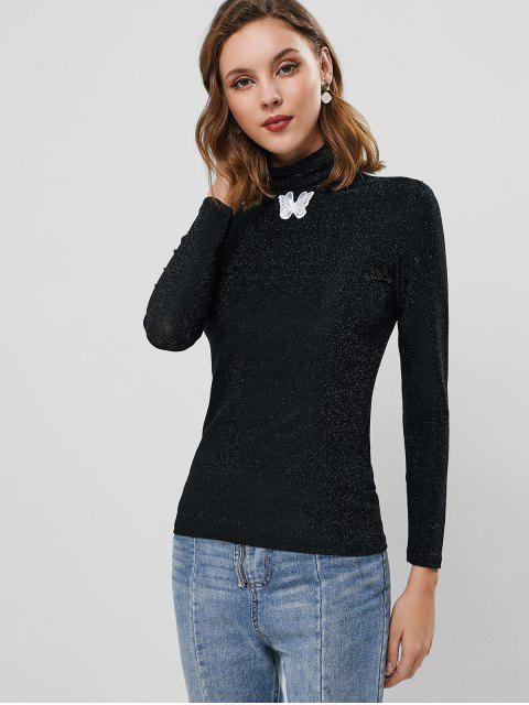 fancy Metallic Thread Butterfly Applique Long Sleeve T-shirt - BLACK M Mobile