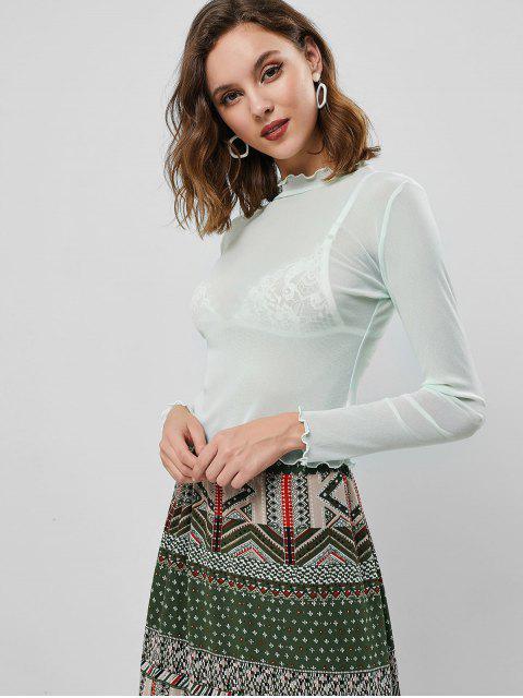 outfit Lettuce Trim Mock Neck See Thru T-shirt - MINT GREEN L Mobile