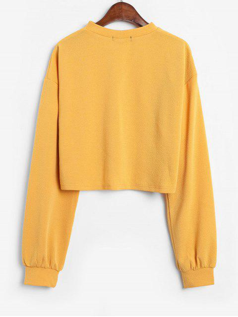 outfit ZAFUL Keyhole Lantern Sleeve Cropped T Shirt - BEE YELLOW XL Mobile