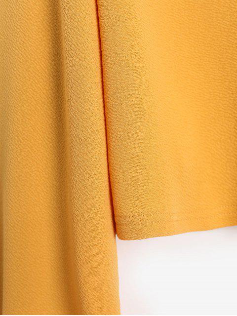 fancy ZAFUL Keyhole Lantern Sleeve Cropped T Shirt - BEE YELLOW M Mobile