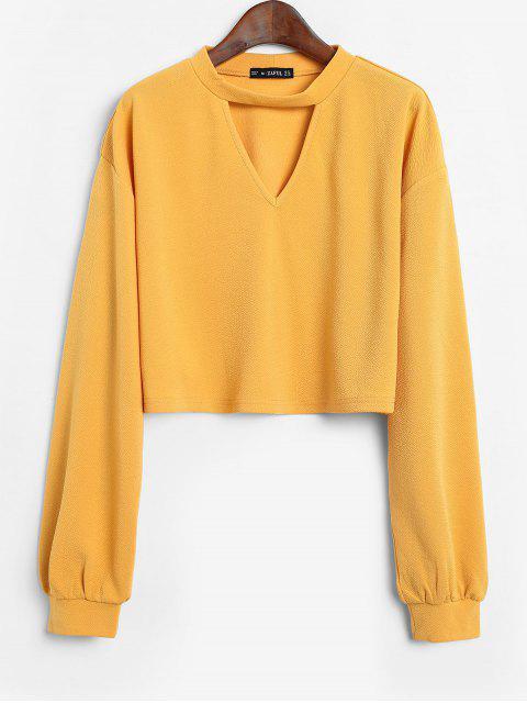 shops ZAFUL Keyhole Lantern Sleeve Cropped T Shirt - BEE YELLOW S Mobile