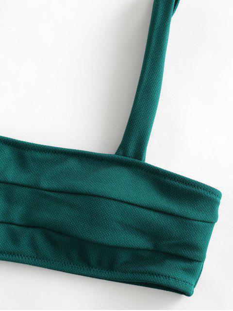ZAFUL Maillot de Bain Bikini Texturé à Bretelle Large - Bleu Verdâtre M Mobile