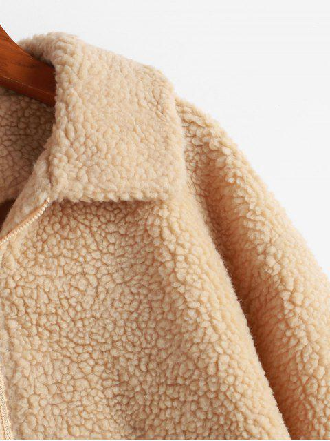 lady ZAFUL Zip Up Drop Shoulder Fluffy Faux Shearling Coat - LIGHT KHAKI S Mobile