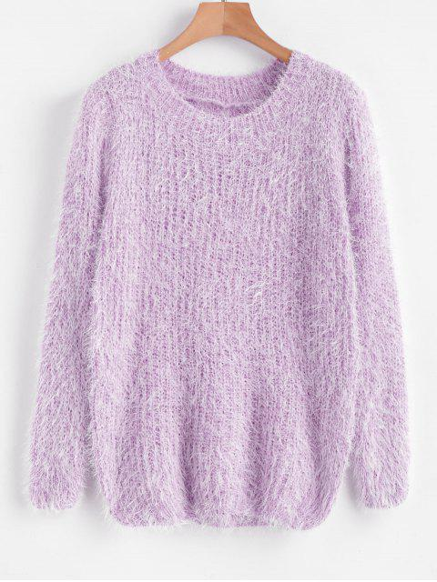 lady Crew Neck Plain Fluffy Sweater - PURPLE ONE SIZE Mobile