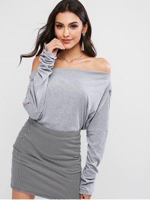 ladies Zipper Embellished Off Shoulder Solid Tee - GRAY XL Mobile