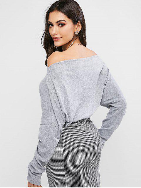 lady Zipper Embellished Off Shoulder Solid Tee - GRAY S Mobile