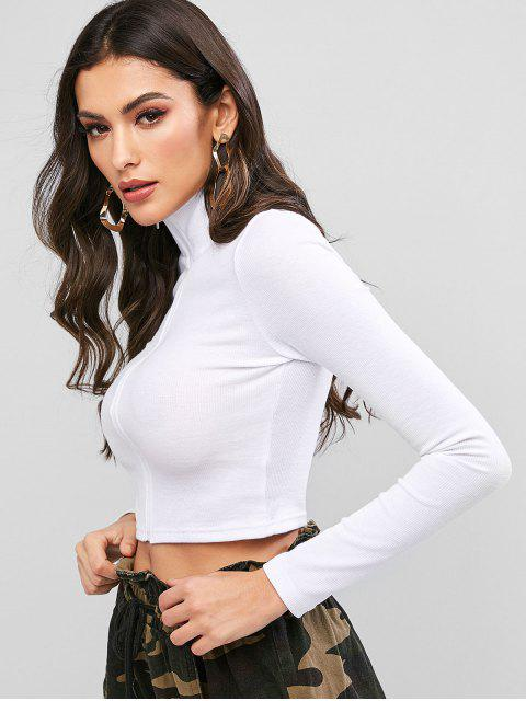 fancy Mock Neck Zip Front Ribbed Cropped Tee - WHITE M Mobile