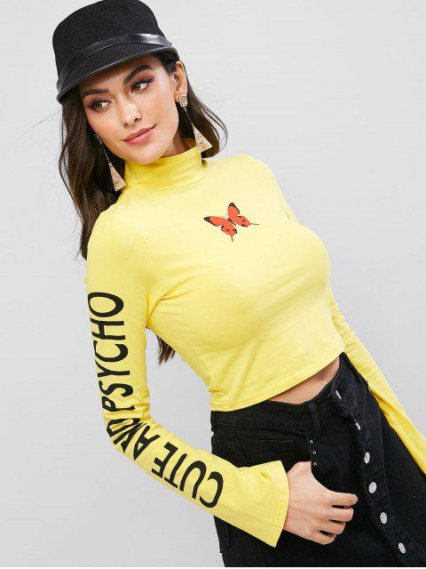 hot Mock Neck Butterfly Cute And Psycho Cropped Tee - YELLOW M Mobile
