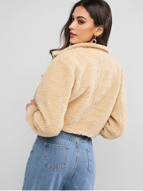 women ZAFUL Snap Button Teddy Cropped Jacket - TAN S Mobile