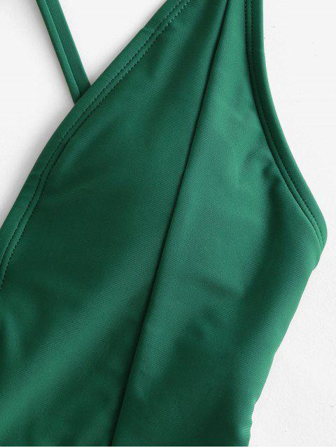 latest ZAFUL Crisscross Lace-up Plant Print One-piece Swimsuit - MEDIUM SEA GREEN L Mobile