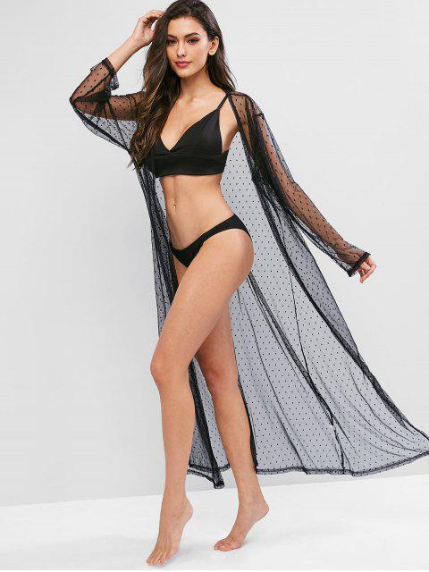women Swiss Dot Sheer Mesh Maxi Cover-up - BLACK ONE SIZE Mobile