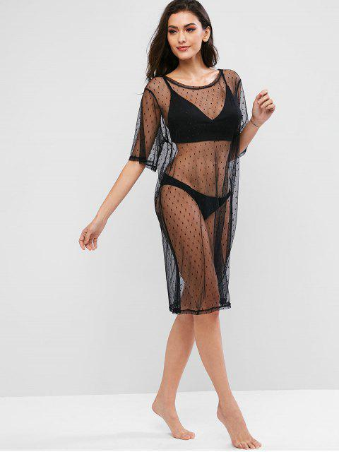 outfits Swiss Dot See Thru Mesh Dress - BLACK ONE SIZE Mobile