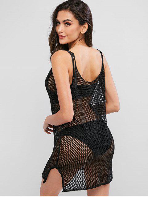 ladies Split Hem Crochet Dress - BLACK ONE SIZE Mobile