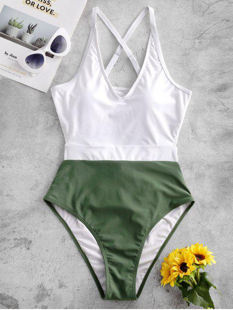 chic ZAFUL Crisscross Back Knot Two Tone One-piece Swimsuit - CAMOUFLAGE GREEN XL Mobile