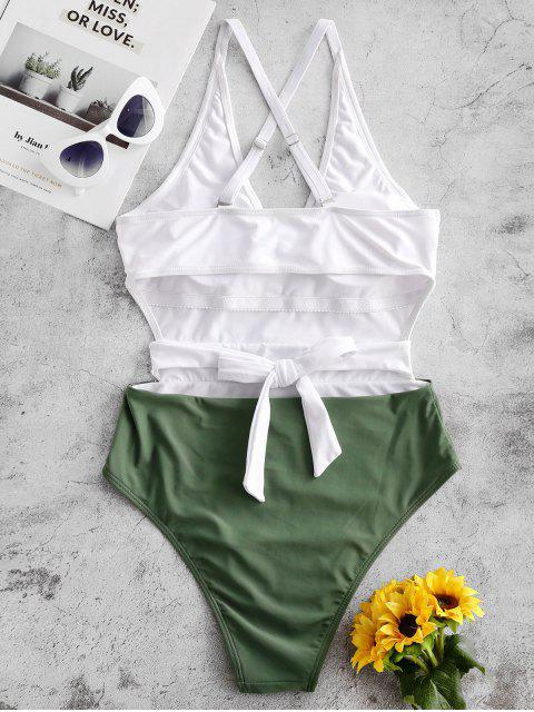 ZAFUL交錯回結雙色連體泳衣 - 迷彩綠色 L Mobile