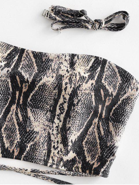 ZAFUL estampado de serpiente cierre de lazo palabra de honor de Tankini del traje de baño - Multicolor-A S Mobile